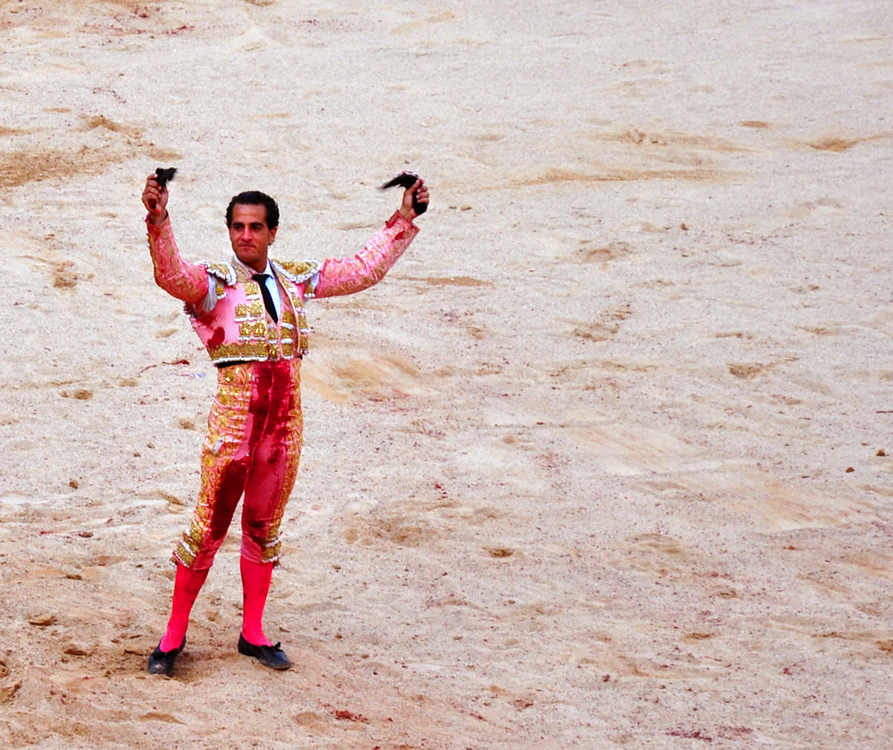 victorious matador with two bull ears